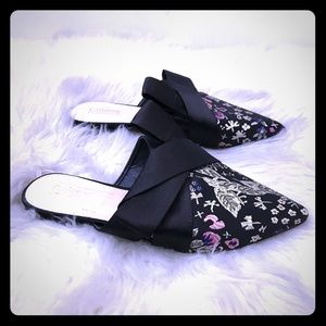 8.5 Pointed Half Bow Toe Eastern Embroidered Mule